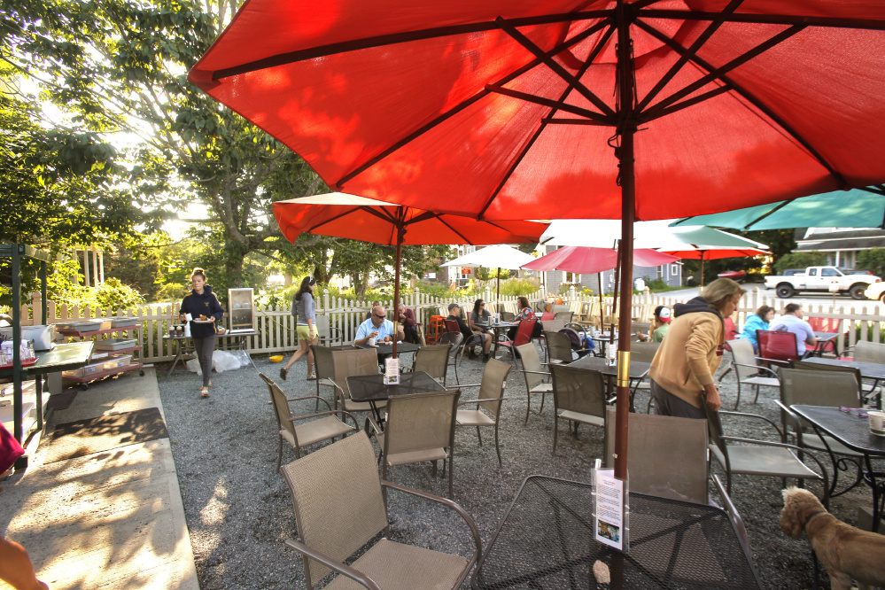 The cafe in Southwest Harbor has an outdoor seating area where patrons can serve themselves. Gregory Rec/Staff Photographer