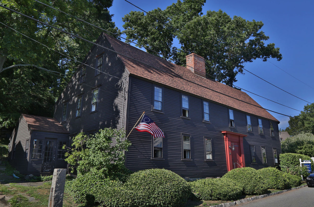 This 17th-century home was built by Nathaniel Haraden, the first settler of Annisquam, in Gloucester, Mass. Its steeply pitched roof is a distinctive sign of its architectural history.
