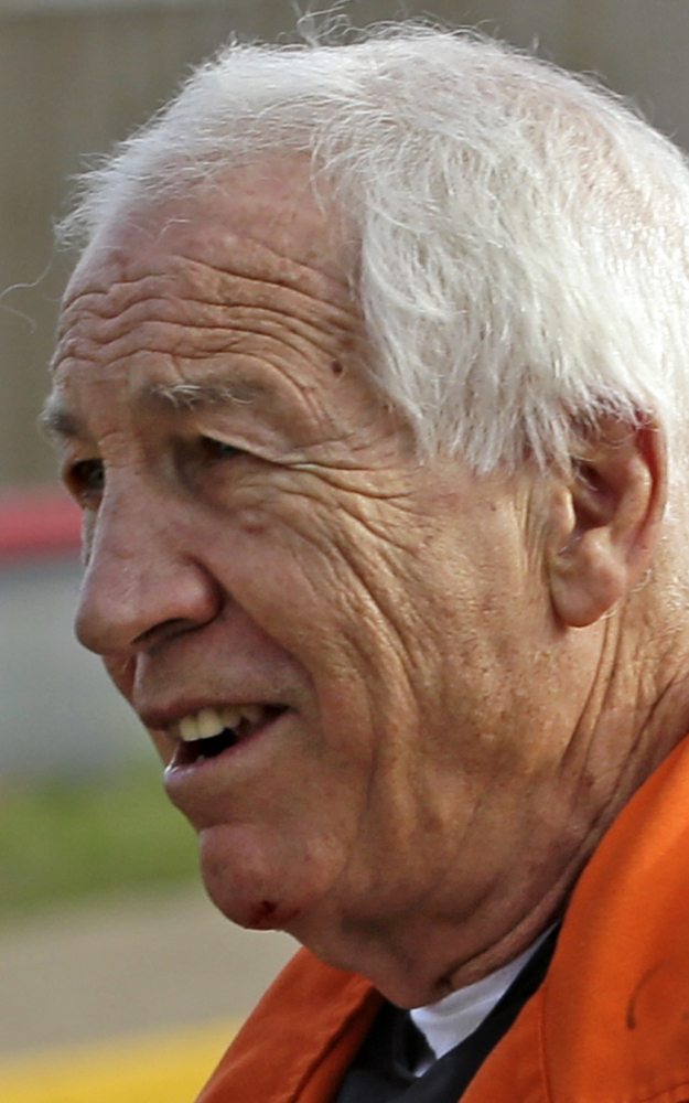 arrives at the Centre County Courthouse for an appeals hearing about whether he was improperly convicted four years ago, in Bellefonte, Pa. Friday, Aug. 12, 2016. Sandusky is serving a 30- to 60-year sentence. (AP Photo/Gene J. Puskar)