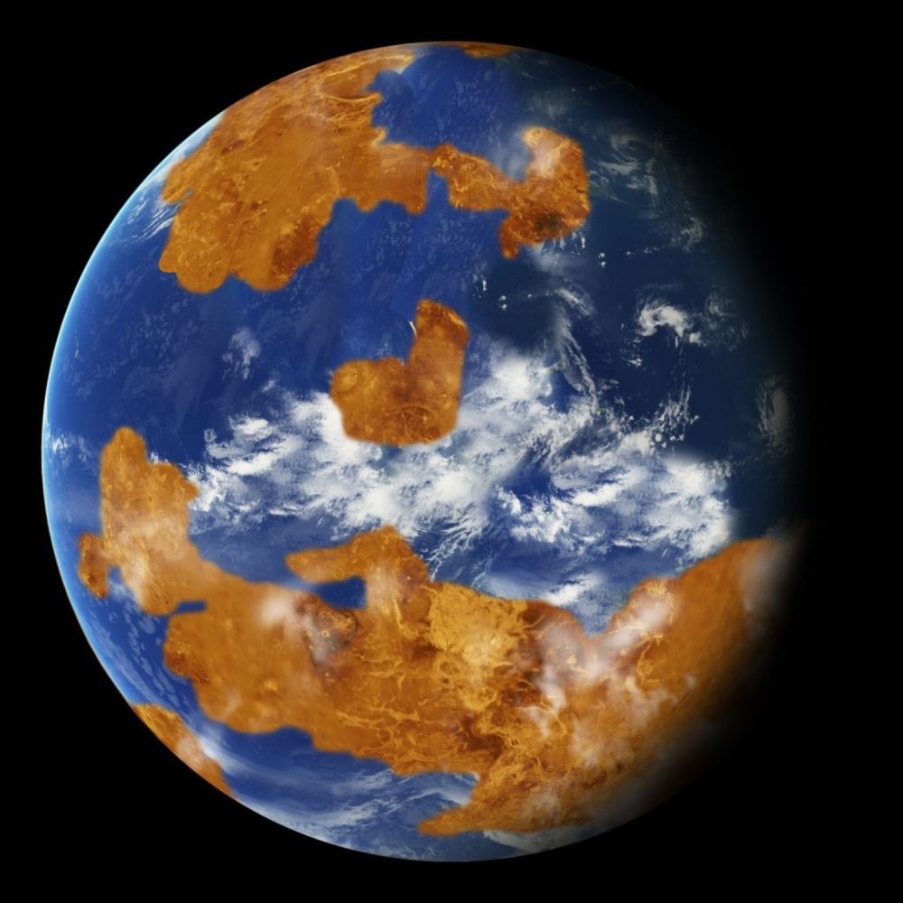 A NASA computer rendition models the land-ocean pattern of Venus. A new report says 2.9 billion years ago, the average Venusian surface temperature was 50 degrees Fahrenheit.