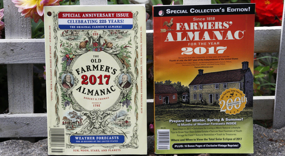 The new editions of the Old Farmer's Almanac, left, and Maine's Farmers' Almanac will be released soon.