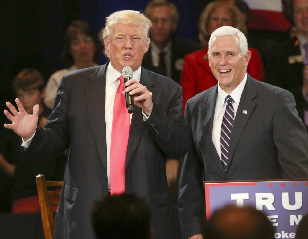 Republican nominee  Donald Trump and running mate Gov. Mike Pence, R-Ind., appear in July in Roanoke, Va.