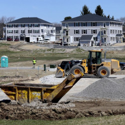 Apartments under construction at Blue Spruce Farm in Westbrook in April (Photo by Derek Davis/Staff Photographer)