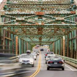 Vehicles that exceed the weight limit for the Brunswick-Topsham Bridge must now detour east on Route 1 to the Brunswick-Topsham Bypass, where Route 196 crosses the Androscoggin River.