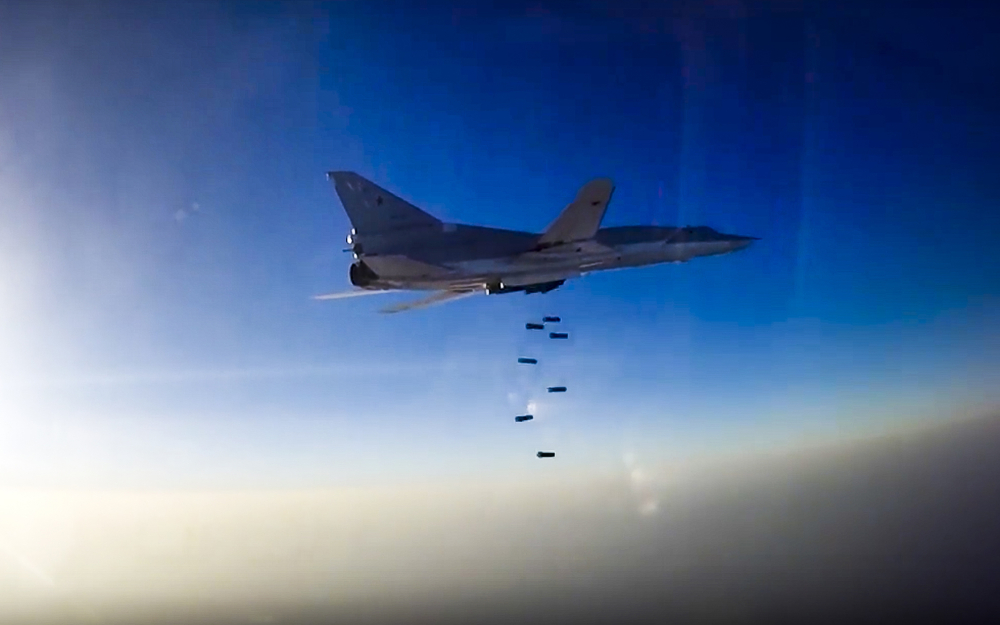 A Russian long-range bomber Tu-22M3 executes an air strike over the Aleppo region of Syria on Tuesday. Until now, Russia's long-range bombers launched from Russian territory more than 1,200 miles away. Now they need fly only about 400 miles from Iran to Syria.
