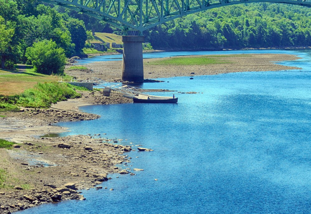 Water levels around the East Side Boat Launch on the Kennebec River in Augusta remain abnormally low as the state continues to suffer from sparse rainfall.
