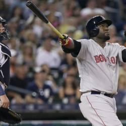 David Ortiz of the Boston Red Sox and Detroit catcher James McCann watch Ortiz's two-run homer in the fifth inning Saturday night that helped produce a 3-2 victory.