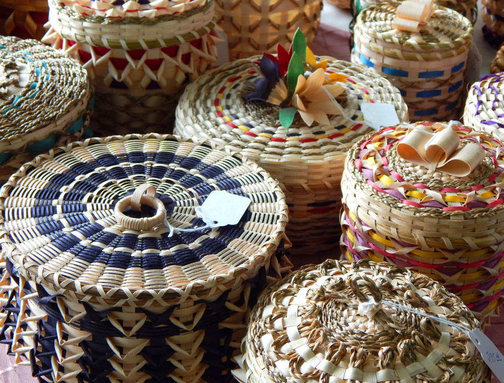 Traditional Passamaquoddy fancy baskets are among the crafts available Saturday at the Maine Native American Summer Market at Sabbathday Lake Shaker Village.