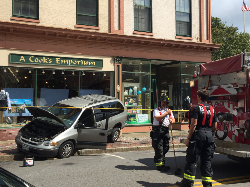 Police say an elderly man was trying to parallel park when he hit the gas pedal and backed into a store in Bath on Saturday.