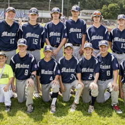 Portland's 14U Babe Ruth team finished with a 3-2 record at the World Series in Westfield, Massachusetts. Team members, from left to right: Front row: bat boy Brandon Mielke, Jackson Villani, Henry Westphal, Liam Niles, Robby Shiels, Garen Kelley and Ike Kiely. Back row: Coach Steve Niles, Alex Smith, Luke Hill, Caden Horton, Brian Riley, Mike Jones, Liam Riley, Griffin Buckley, Manager Matt Rogers, Nate Rogers and Coach Dan Riley.