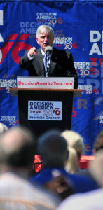 """Evangelist Franklin Graham urges Mainers to """"vote for biblical values"""" Tuesday. His Decision America Tour rally took place in Capitol Park in Augusta"""