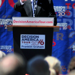"Evangelist Franklin Graham urges Mainers to ""vote for biblical values"" Tuesday. His Decision America Tour rally took place in Capitol Park in Augusta"