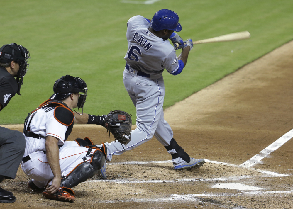 Lorenzo Cain of the Royals gets the first of his two hits Tuesday night in the fourth inning at Miami. Cain singled in the game's only run two innings later as Kansas City beat Miami, 1-0.