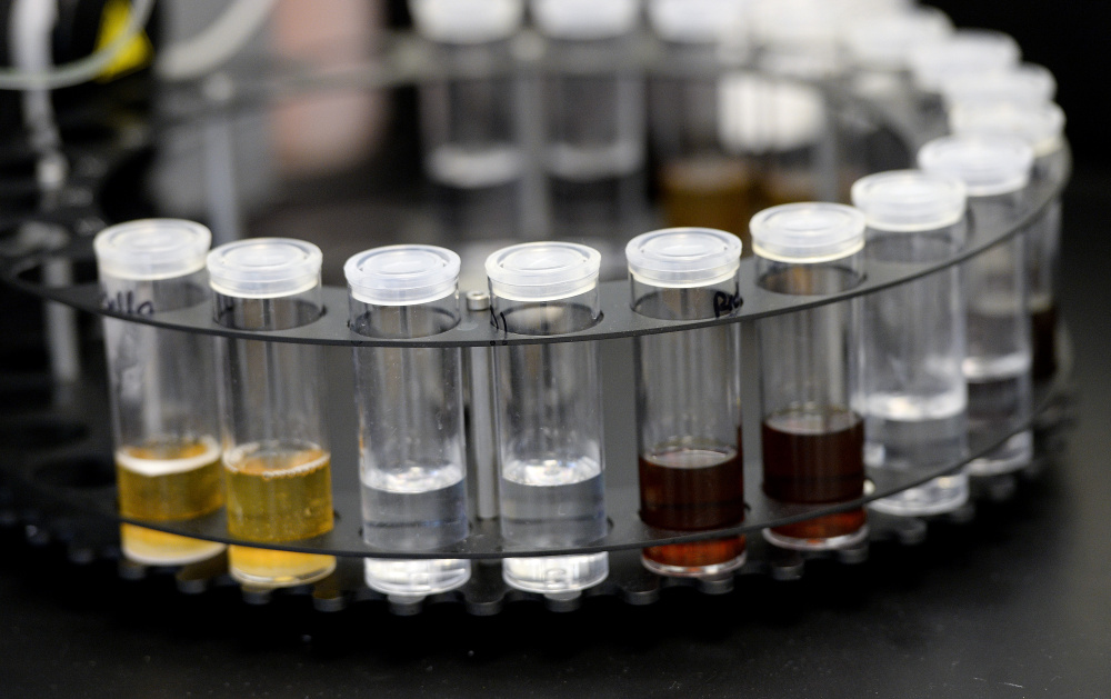 Beer samples await analysis in the beer lab at the University of Southern Maine. Shawn Patrick Ouellette/Staff Photographer
