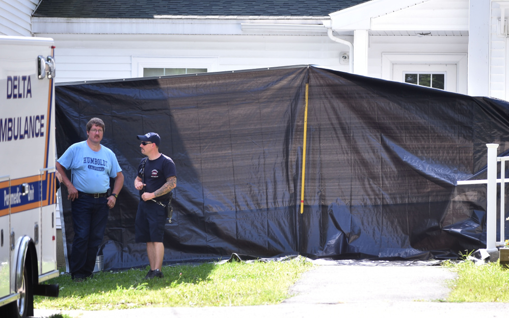 Waterville firefighters and other emergency personnel respond to a report of a chemical spill Thursday at a multi-family apartment building at 270 Main St. in Waterville. The call turned out to be over-use of a bug repellent.