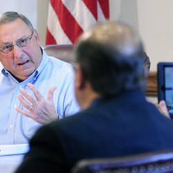 AUGUSTA, ME - AUGUST 26: Gov. Paul LePage speaks during a meeting with reporters on Friday August 26, 2016 in the State House Cabinet room in Augusta.(Photo by Joe Phelan/Staff Photographer)