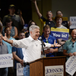 Libertarian presidential candidate Gary Johnson speaks Friday evening at the Franco American Heritage Center in Lewiston, where about 650 people turned out for his campaign appearance. Shawn Patrick Ouellette/Staff Photographer