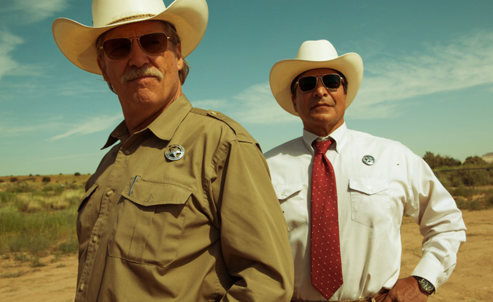 Jeff Bridges, left, as Texas Ranger Marcus Hamilton and Gil Birmingham as his partner Alberto Parker in