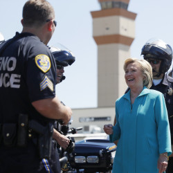 Hillary Clinton talks with police in Reno, Nev., last week. She is, by all accounts, rehearsing diligently for her upcoming confrontation with Donald Trump – so much that some in her camp worry that she may drown herself in detail to the detriment of her performance.