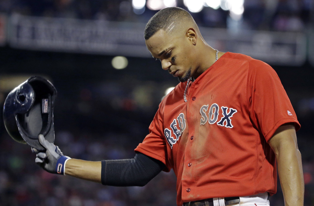 Xander Bogaerts has been among the American League batting leaders for almost the entire season, but an August slump has dropped his average from .329 to .308 entering Saturday's game against Kansas City.