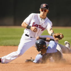 Sea Dogs second baseman Ryan Court is late with the tag as Trenton Thunder's Jose Rosario slides safely into second with a stolen base. The Sea Dogs lost lost to the Thunder 4-3 in 11 innings at Hadlock Field in Portland on Sunday.