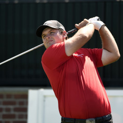 Patrick Reed, shown teeing off the first hole during the final round of The Barclays in Farmingdale, N.Y., Sunday, wins the tournament and a spot on the Ryder Cup team.