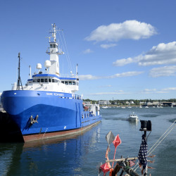 The Maine Responder spill response vessel, docked at Union Wharf in Portland on Monday, has been taken out of service because its operator has lost funding and the risk of an oil spill in Portland Harbor has dropped.
