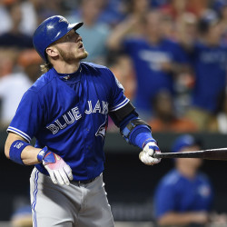 Toronto's Josh Donaldson, who has four homers in his last two games, watches his fourth-inning solo blast in a the Blue Jays' 5-1 win Monday in Baltimore.
