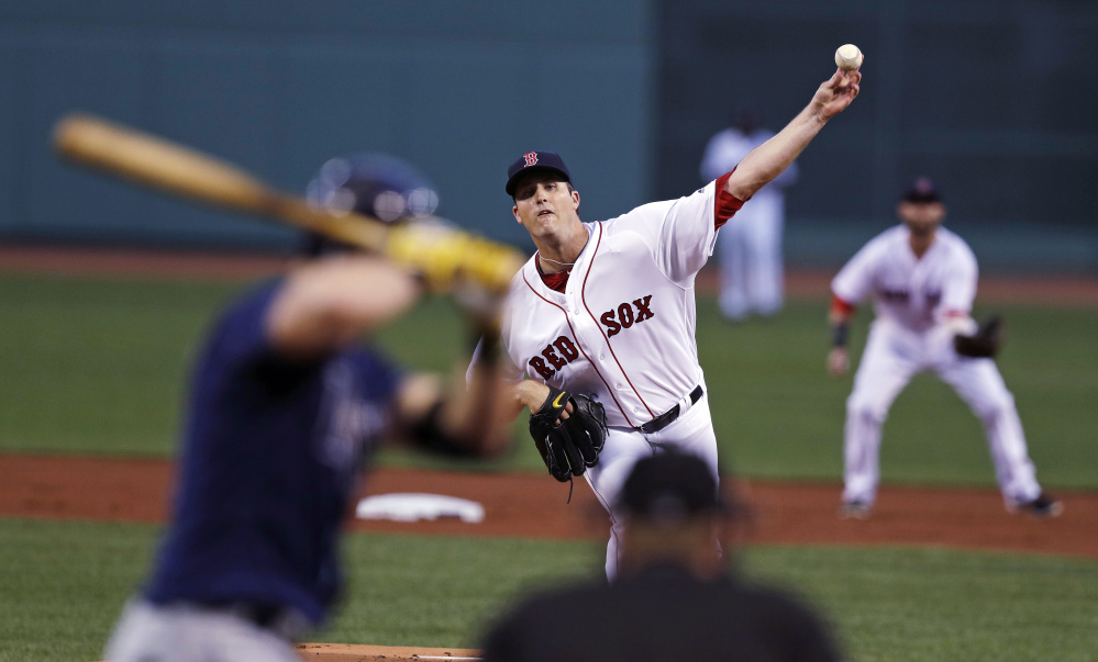 Boston Red Sox starting pitcher Drew Pomeranz delivers during the first inning of a 2016 baseball game against the Tampa Bay Rays at Fenway Park,