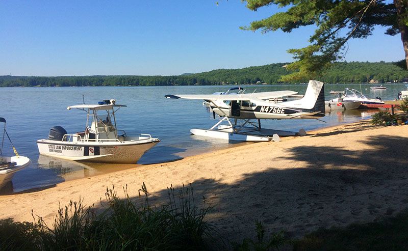 Craft lined up on Long Lake  on Thursday morning as the search resumes for the missing boater.