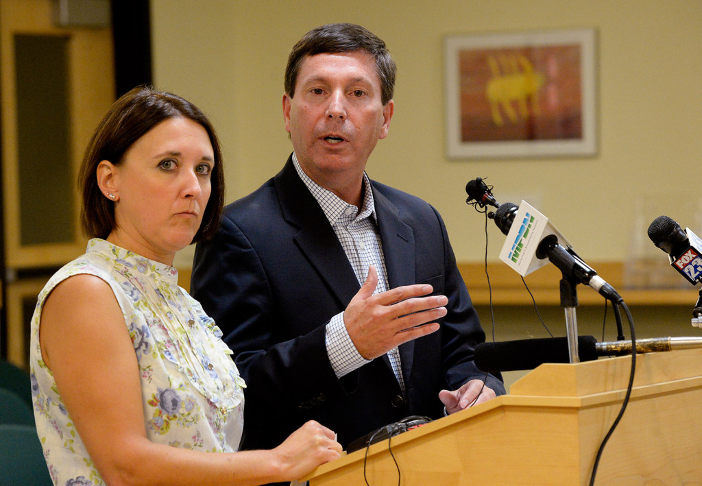 "Reps. Ellie Espling of New Gloucester and Ken Fredette of Newport speak to the media Tuesday night after the House Republican caucus met privately to discuss the comments made recently by Gov. Paul LePage. Fredette said, ""He needs to apologize and that needs to be sincere and that needs to be meaningful and he needs to understand in his heart that what he did was wrong."" Shawn Patrick Ouellette/Staff Photographer"