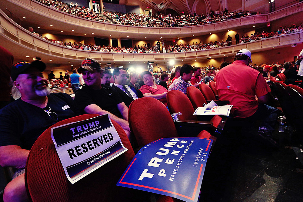 Merrill Auditorium fills up for the scheduled 3 p.m. campaign appearance of presidential candidate Donald Trump in Portland.
