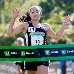 Tia Tardy of Lincoln wins Friday's Beach to Beacon High School Mile at Fort Williams in Cape Elizabeth, finishing with a time of 5 minutes and 32 seconds.