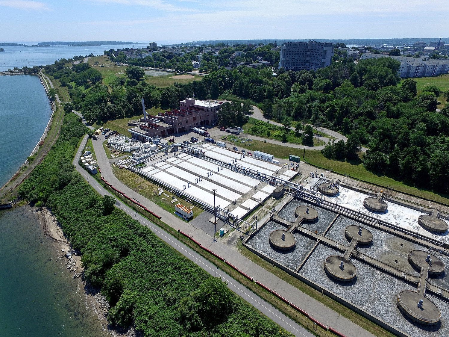 This photo taken from a drone shows the East End Wastewater Treatment Plant, which is getting an $11.4 million upgrade.