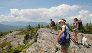 John Patrick, pastor of the Denmark Congregational Church, left, Juliet Clarke of Windham, center, Trudy Dunn of Ossipee, N.H. (and Dunn's dog Ollie) stand near the summit of Caribou Mountain in Evans Notch while on a hike with the Denmark Mountain Hikers.