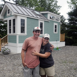 Luke Lucier and Becky Deering stand on Sunday outside the house they built in Richmond.