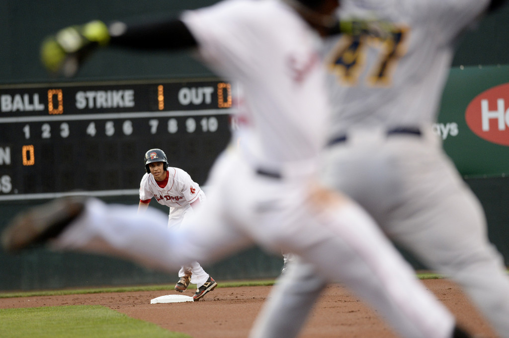 Portland's Mauricio Dubon watches a play at first base after safely reaching second base against the Trenton Thunder. Shawn Patrick Ouellette/Staff Photographer