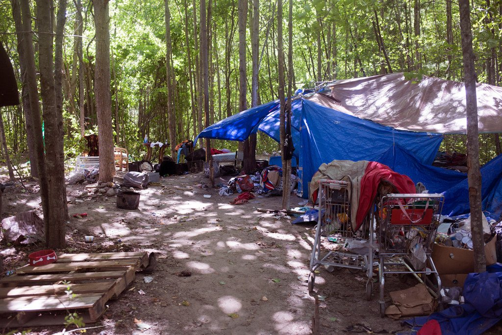 Portland police gave the homeless residents of this encampment behind the Pine Tree Shopping Center until Thursday to move out. Only one camper remained Thursday afternoon, and he was on his way out.