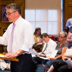 Portland Mayor Ethan Strimling speaks at Wednesday night's City Council meeting on his proposal to restrict rent increases and no-cause evictions in the city. Carl D. Walsh/Staff Photographer
