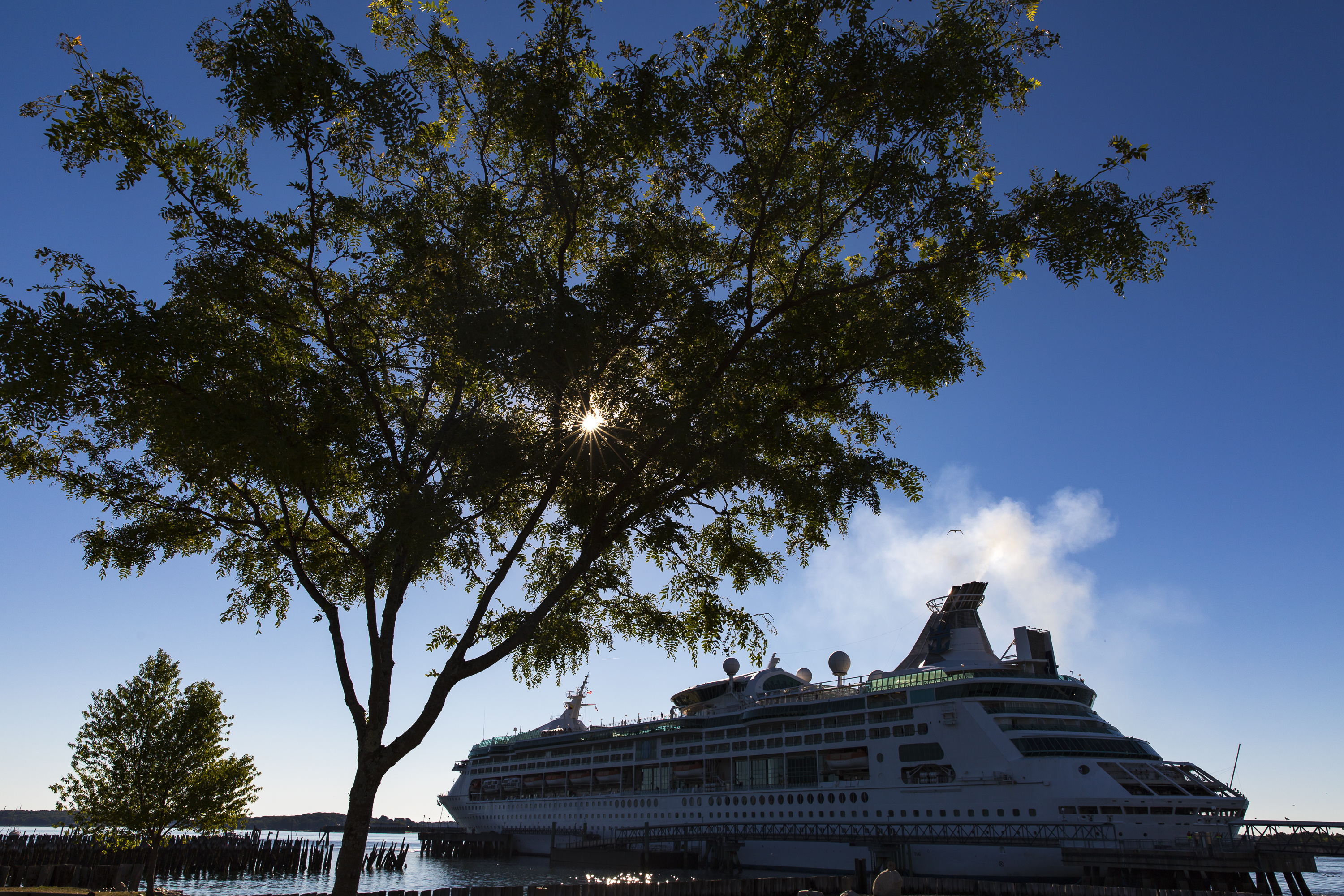 Smoke billows from the smoke stack as the cruise ship Grandeur of the Seas docks at Ocean Gateway. Ben McCanna/Staff Photographer