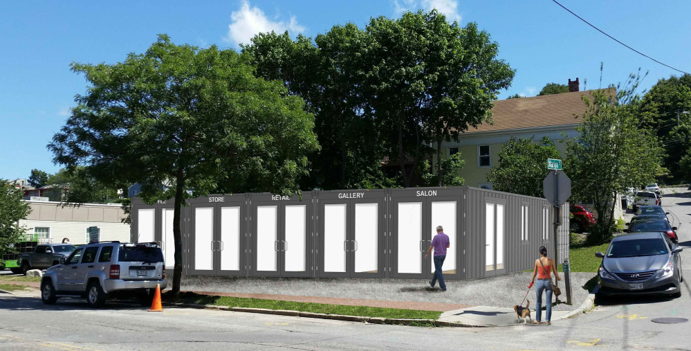A rendering depicts the structure proposed for 93 Washington Ave. in Portland, combining six shipping containers into retail space and storage. If approved, it will be the first for-lease commercial space made of the metal receptacles in the city.