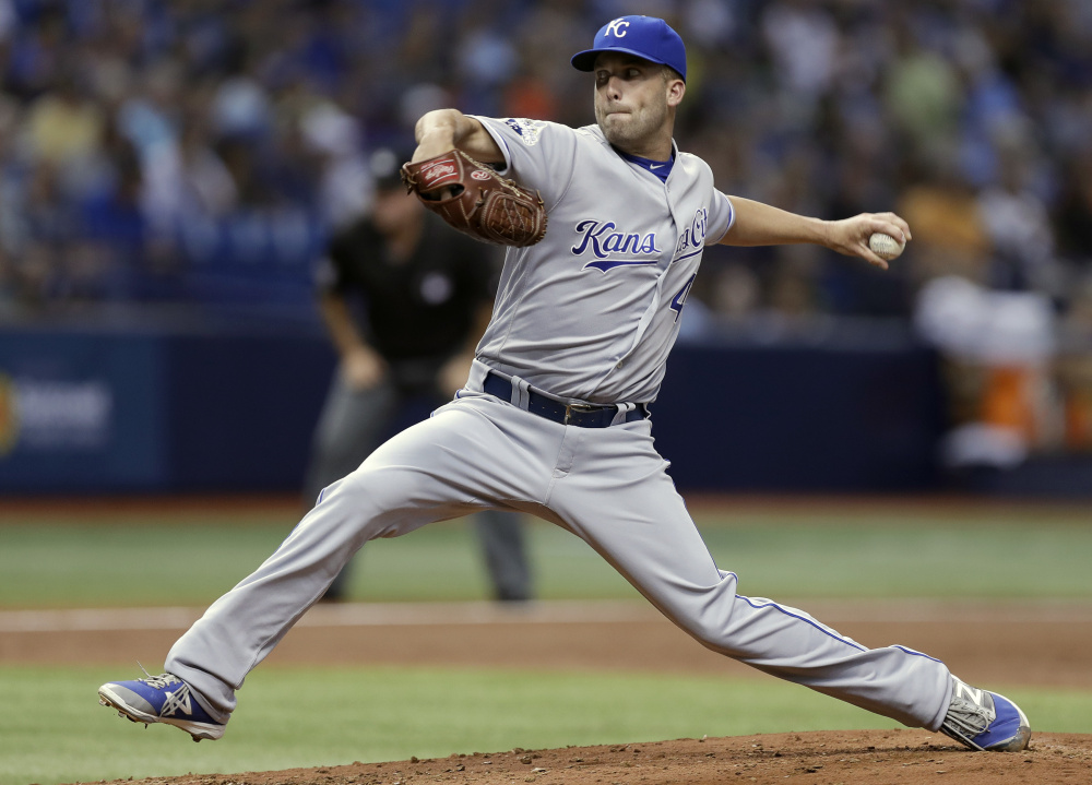 Kansas City's Danny Duffy threw no-hit ball for seven innings before giving up a leadoff double in the eighth in a 3-1 win over Tampa Bay on Monday at St. Petersburg, Fla.