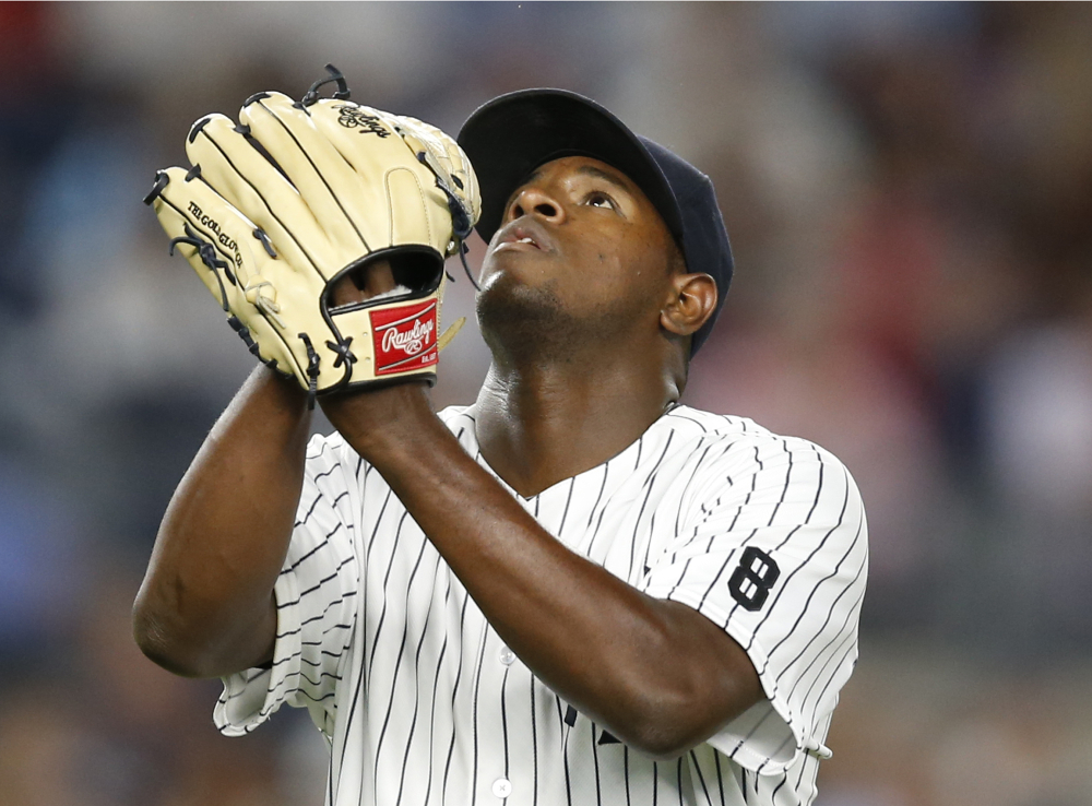 Luis Severino of the Yankees comes off the mound after the seventh inning as the Yankees held off the New York Mets 9-5 on Wednesday at Yankee Stadium.