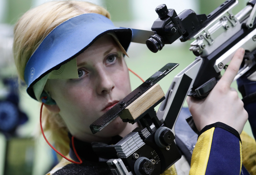 Virginia Thrasher of the United States competes during the Women's 10m Air Rifle Qualification at the 2016 Summer Olympics in Rio de Janeiro on Saturday. (Associated Press/Hassan Ammar)