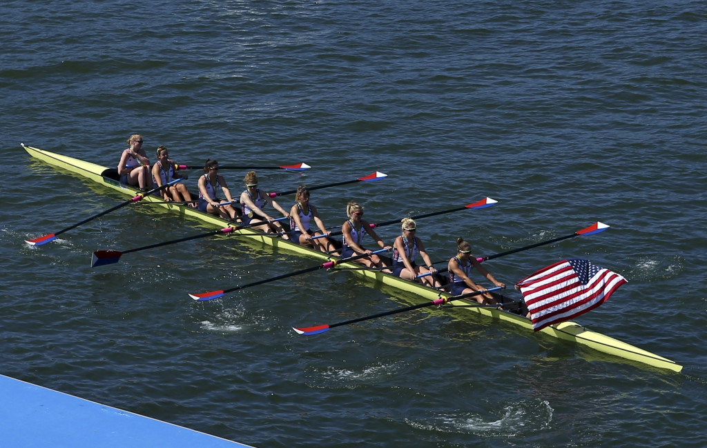 The United States women's rowing team takes a victory lap after winning the gold in the women's eight event during the Summer Olympics in Rio de Janeiro on Saturday.