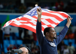 Kevin Durant celebrates the men's basketball gold medal after the U.S. beat Serbia 96-66.