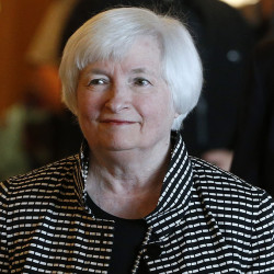 Federal Reserve Chair Janet Yellen arrives for a reception on the opening night of the annual invitation-only conference of central bankers from around the world, sponsored by the Federal Reserve Bank of Kansas City, at Jackson Lake Lodge in Grand Teton National Park, north of Jackson Hole, Wyo., Thursday, Aug 25, 2016. Yellen is to address the gathering on Friday. (AP Photo/Brennan Linsley)