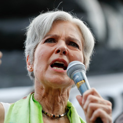Jill Stein, the Green Party presidential nominee, speaks at a rally in Philadelphia on July 27, during the Democratic National Convention. Associated Press/Alex Brandon