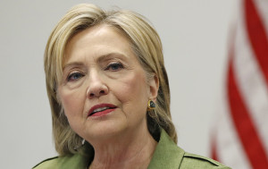 Democratic presidential candidate Hillary Clinton speaks to media as she meets with law enforcement leaders at John Jay College of Criminal Justice in New York on  Aug. 18, 2016. Lawmakers question  the structure and security of Clinton's email system and whether it met federally recommended standards for cybersecurity and record preservation. Carolyn Kaster/Associated Press