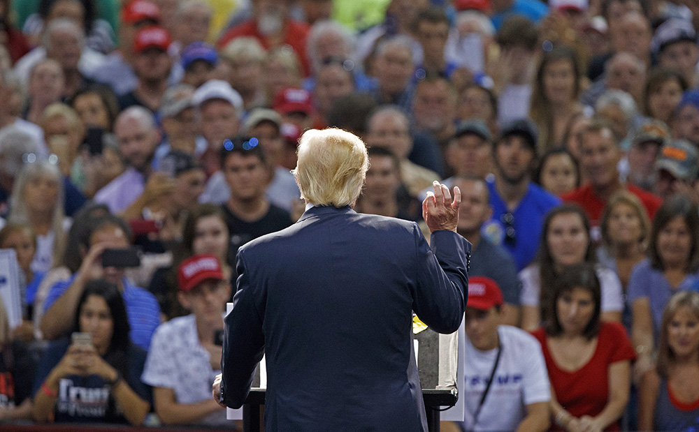 Republican presidential candidate Donald Trump speaks during a campaign town hall in Daytona Beach, Fla., Wednesday. Evan Vucci/Associated Press